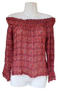 Angie Off Boho Hippy Bohemian Longsleeve Top red, orange