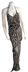 Pierre Garroudi Zebra Print Maxi Dress