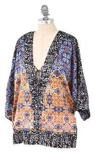 Kensie Oversized Chiffon Tunic Top Multi-color