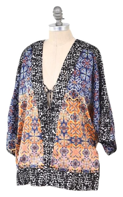 Kensie Oversized Chiffon Tunic Top Multi-color Image 0