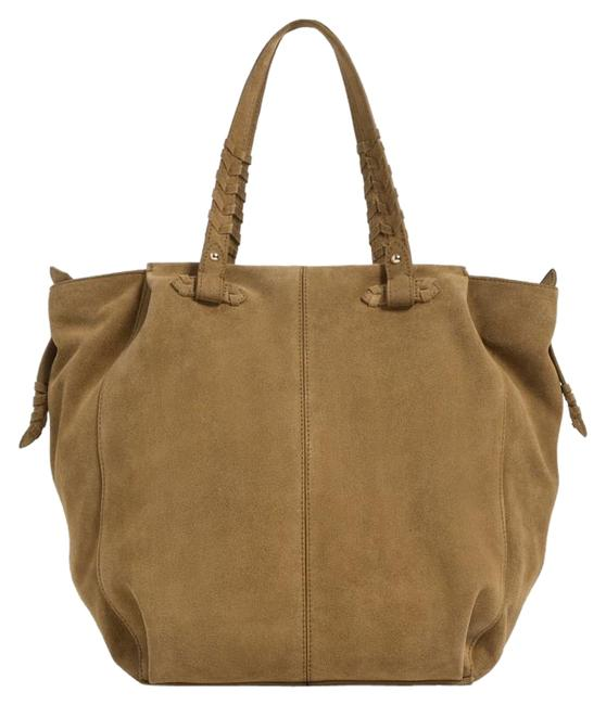 Item - Color with Braided Handle Detail Mustard Suede Real Leather Tote