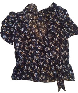 H&M Top Black Printed