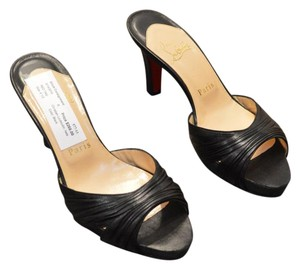 Christian Louboutin Red Bottom Leather Peep Toe Black Pumps