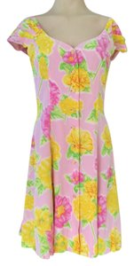 Escada short dress yellow/pink on Tradesy