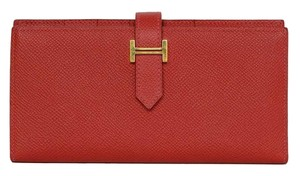 Hermès Hermes LIKE NEW Rouge Casque Epsom Bearn Wallet