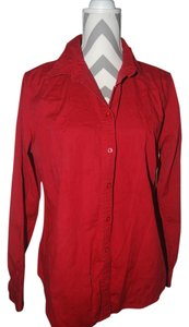 Merona Button Down Long Sleeve Button Down Shirt Red