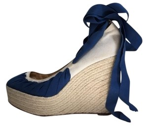 Christian Louboutin Espadrille Platform Wedge Blue and White Wedges