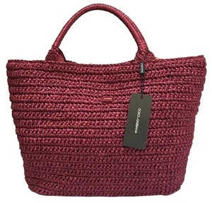Dolce&Gabbana Jute Leather Beach New With Tags Tote in Fuschia