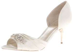 Ivanka Trump Wedding Wedding Satin Embellished Gold Ivory Satin Pumps