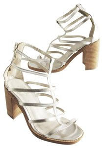Jeffrey Campbell Leather Open Toe Strappy Silver Sandals