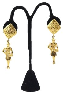 Chanel Gold Coco Dangle Earrings Vintage 1970's