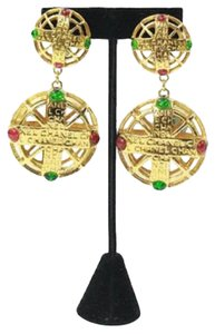 Chanel Vintage Pink and Green Gripoix Earrings