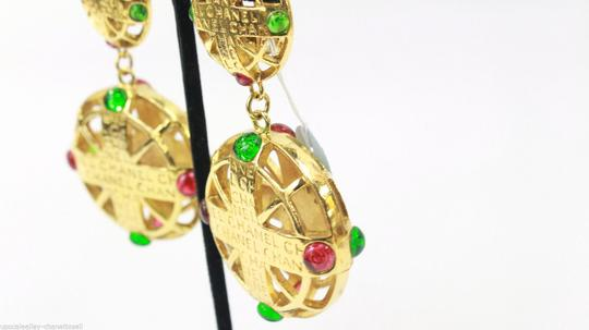Chanel Vintage Pink and Green Gripoix Earrings Image 1