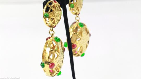 Chanel Vintage Pink and Green Gripoix Earrings Image 4