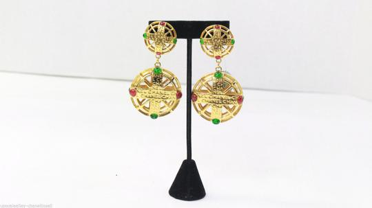 Chanel Vintage Pink and Green Gripoix Earrings Image 5