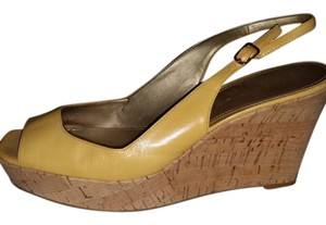 Marc Fisher Leather Espadrille Summer Sandal Yellow, Gold Wedges