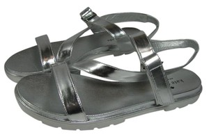 Kate Spade Flat Strappy metallic silver Sandals