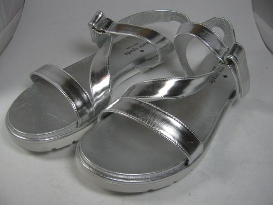 Kate Spade Flat Strappy metallic silver Sandals Image 1