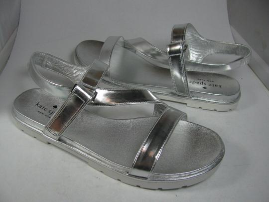 Kate Spade Flat Strappy metallic silver Sandals Image 4