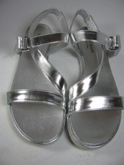 Kate Spade Flat Strappy metallic silver Sandals Image 5