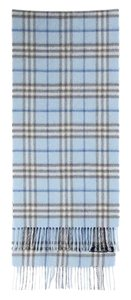 Burberry Blue Check Plaid Cashmere Scarf