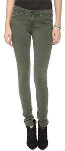 AG Adriano Goldschmied Green Olive Skinny Jeans-Distressed