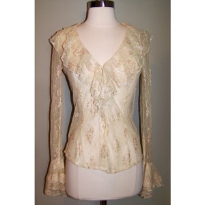 Cache Lace Ruffle Button Longsleeve Sheer Top Ivory