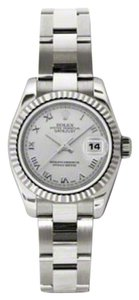 Rolex Rolex New Style Pre Owned Datejust White Gold Silver Roman Dial 26mm.