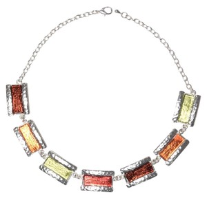 Pewter Chain Link Rectangle Multicolored Pendant Necklace