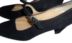 Ann Taylor Block Heel Mary Jane black suede Pumps