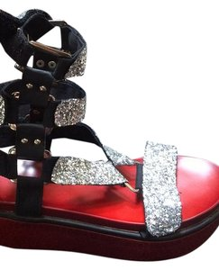 Other Silver, Black and Red Sandals