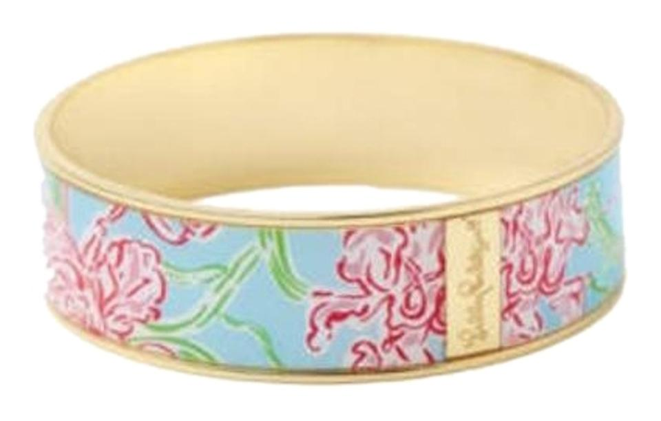 Lilly Pulitzer Blue Pink And Gold Photodome Bangle Loves Limited