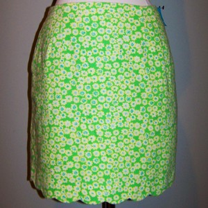 Lilly Pulitzer Pockets Scalloped Textured Mini Skirt Green White Yellow