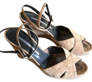 Donald J. Pliner Cork Wedge Tan Wedges