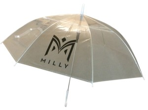MILLY MILLY Collection Clear Fashion Logo Umbrella with White Handle, Never Used