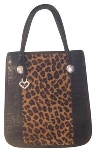 Brighton Vintage Crocodile Tote in Black/Croc Leopard Calf Hair