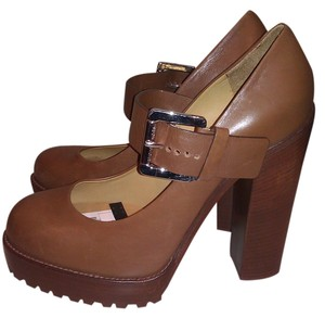 Michael Kors Mary Jane Leather Brown Platforms