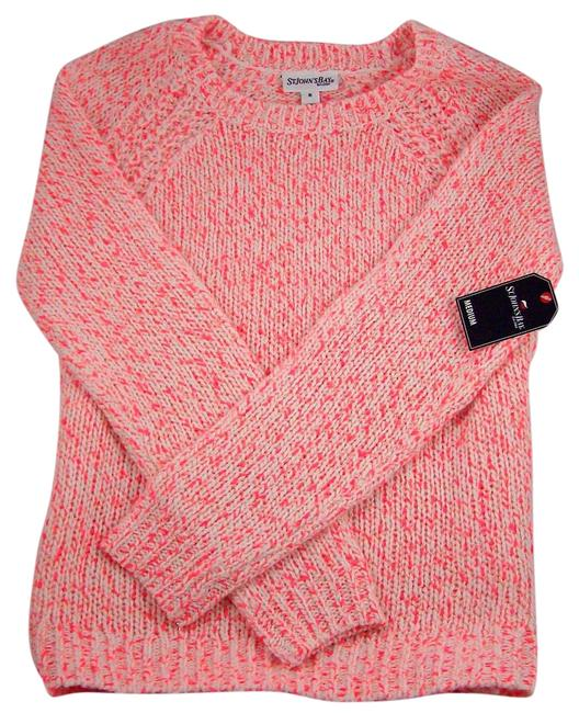 Preload https://img-static.tradesy.com/item/17657086/ivoryneon-pink-medium-sweaterpullover-size-8-m-0-1-650-650.jpg