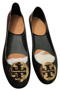 Tory Burch Gold Hardware Rubber Navy Blue Flats
