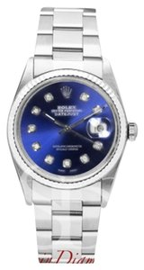 Rolex Rolex Mens Datejust Blue Diamonod Dial on Oyster Band.