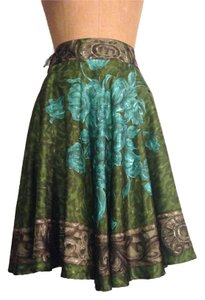 Piazza Sempione Silk Full Skirt Green