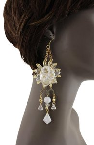 Other Women Delicate Flower Clear Crystal Beads Gold Metal Chain Earrings