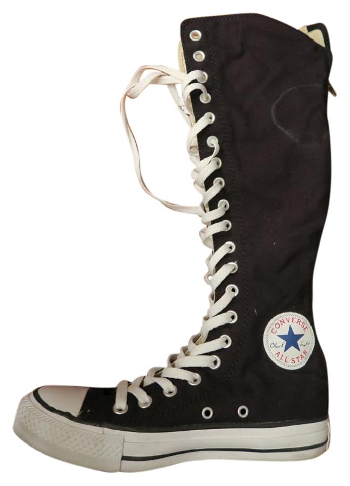 Converse Black and White All star Chuck Taylor Knee High Zipper Lace BootsBooties Size US 7 Regular (M, B)