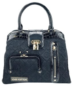 Louis Vuitton Limited Edition Silk Pony Hair Alligator Gold Hardware Satchel in Black