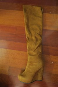 Cathy Jean Suede Knee High Suede Wedge Brown Boots