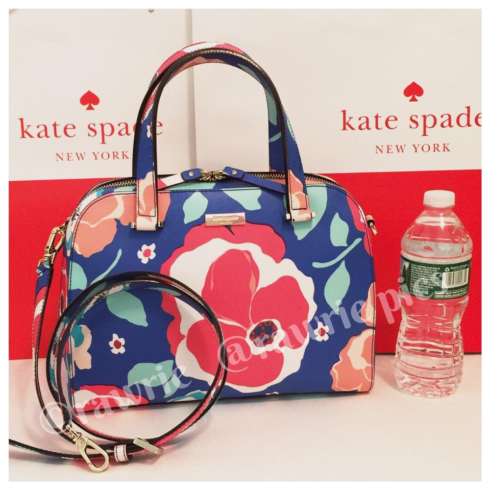 Kate Spade Structured Flowers Colorful Shoulder Strap Zip Top Cross Body Bag