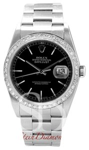 Rolex Rolex Mens Datejust Black Index Dial on Oyster Band