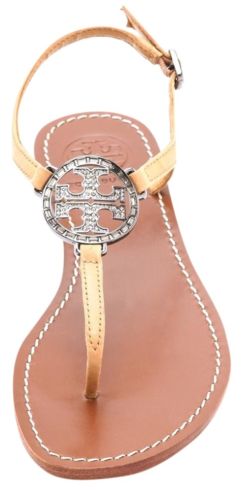 Tory Burch Beige Violet Flat Thong Tan Metallic Silver Iced Coffee Tan Thong Patent Leather Sandals 8c7abe