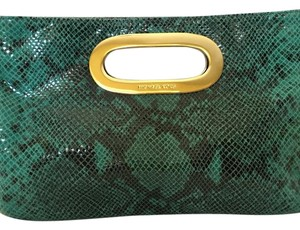Michael Kors Black and Teal Snake Skin Print Clutch