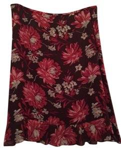 Ann Taylor Floral Skirt Brown w/ Pink & Rose flowers